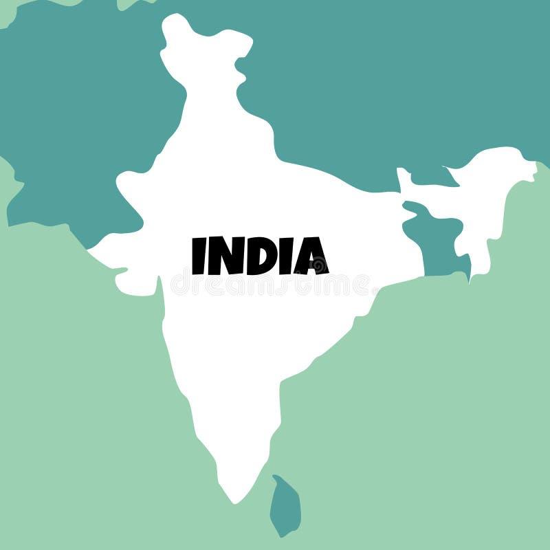 Illustration der ausf?hrlichen Karte von Indien lizenzfreie abbildung