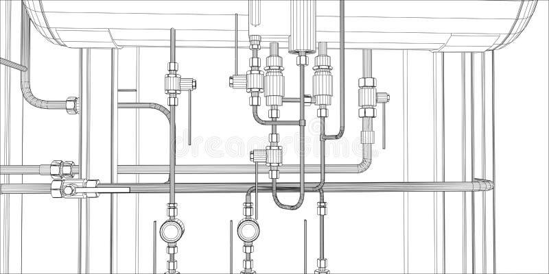 Illustration der Ausrüstung für Heizsystem stock abbildung