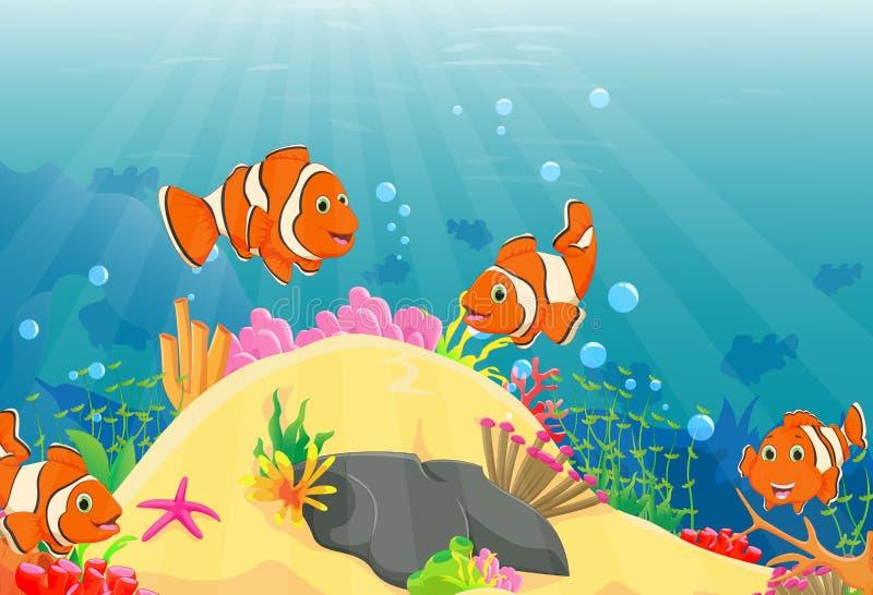 Illustration der Clownfischschwimmens in einem tiefen Underwater lizenzfreie abbildung