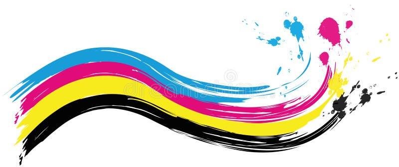 Illustration der cmyk Druckfarbwelle mit spritzt von der Farbe stock abbildung