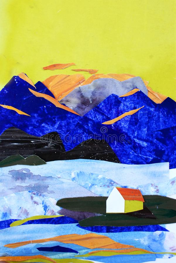 Illustration der Collage der Berge und des Seehauses vektor abbildung