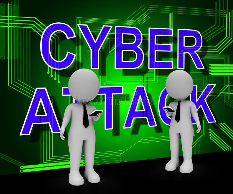 Illustration der cyber-Angriffs-Verhinderungs-Sicherheits-Brandmauer-3d vektor abbildung