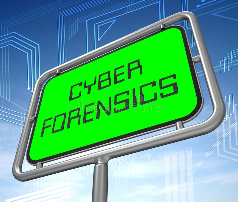 Illustration der cyber-Kriminalistik-Computerkriminalitäts-Analyse-3d vektor abbildung