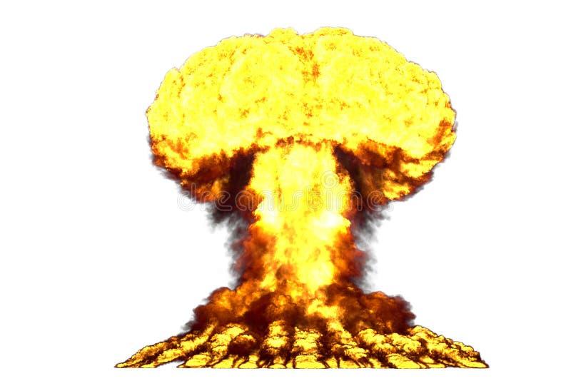 Illustration der Explosion 3D der großen hohen ausführlichen Atompilzexplosion mit Feuer- und Rauchblicken mögen von der Atombomb stock abbildung