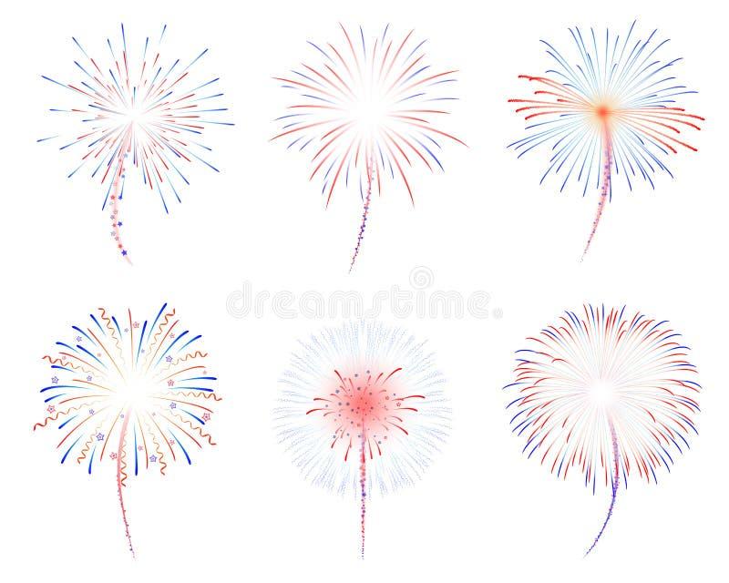 Illustration der Feuerwerke d stock abbildung