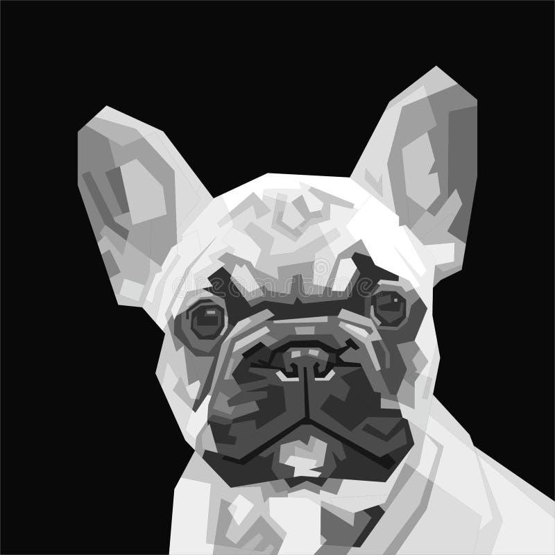 Illustration der französischen Bulldogge des Grayscale lizenzfreie stockbilder