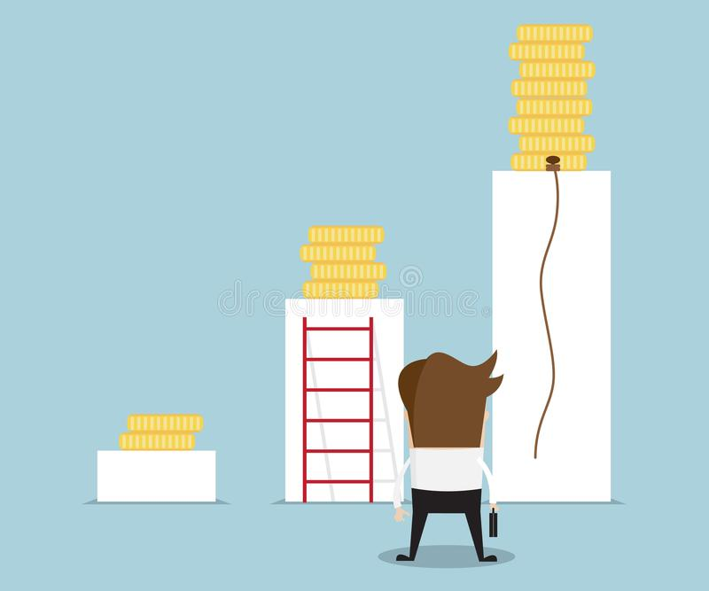 Illustration der Geschäftsmannstellung, zum von Weise zu Geld coi zu wählen lizenzfreie abbildung