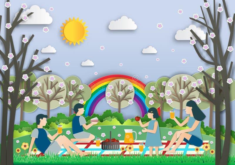 Illustration der glücklichen Familie auf einem Picknick Familie, die ein übertreffung hat vektor abbildung