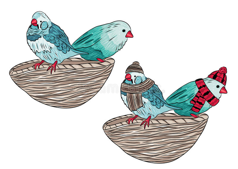 Illustration der gleichen Vögel wärmen sich angekleidet und ausgezogen stock abbildung