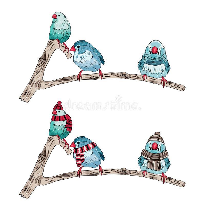 Illustration der gleichen Vögel wärmen sich angekleidet und ausgezogen vektor abbildung