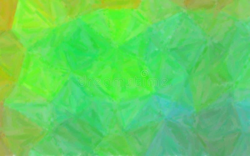 Illustration der grünen und braunen Ölfarbe mit trockenem Bürstenhintergrund stockfotografie