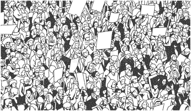 Illustration der großen Menge der Leute, die mit leeren Zeichen demonstrieren lizenzfreie abbildung