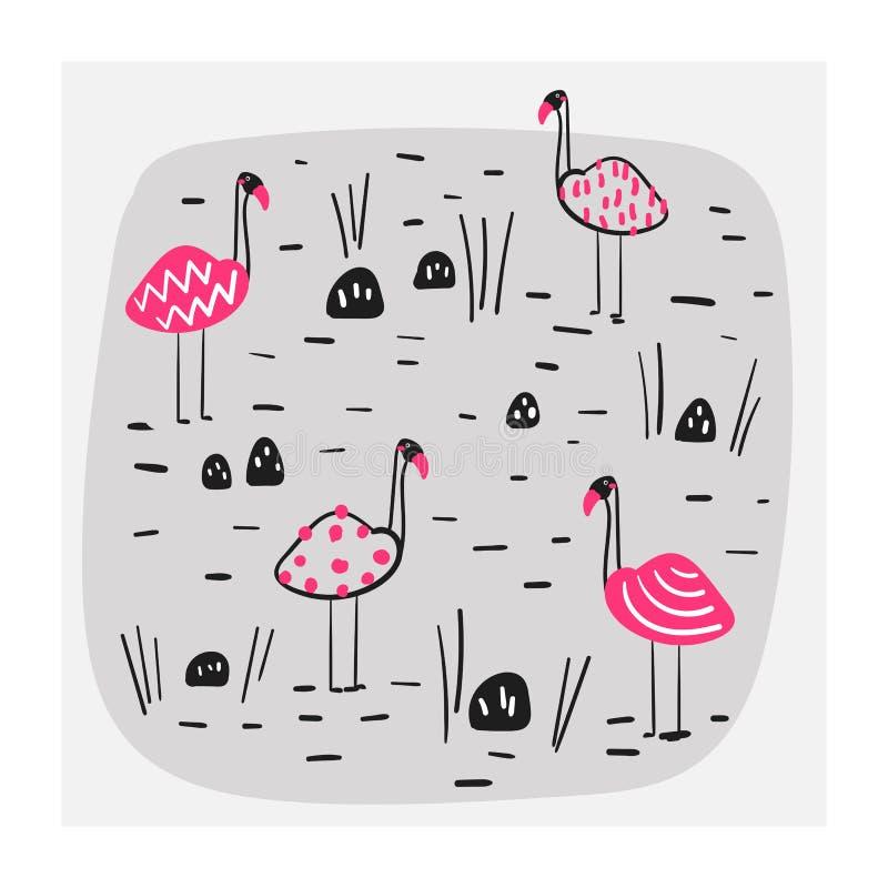 Illustration der Gruppe rosa Flamingos im See Karte, Postkarte, Druck, Plakat, Hintergrund mit lustigen Gekritzelvögeln lizenzfreie abbildung
