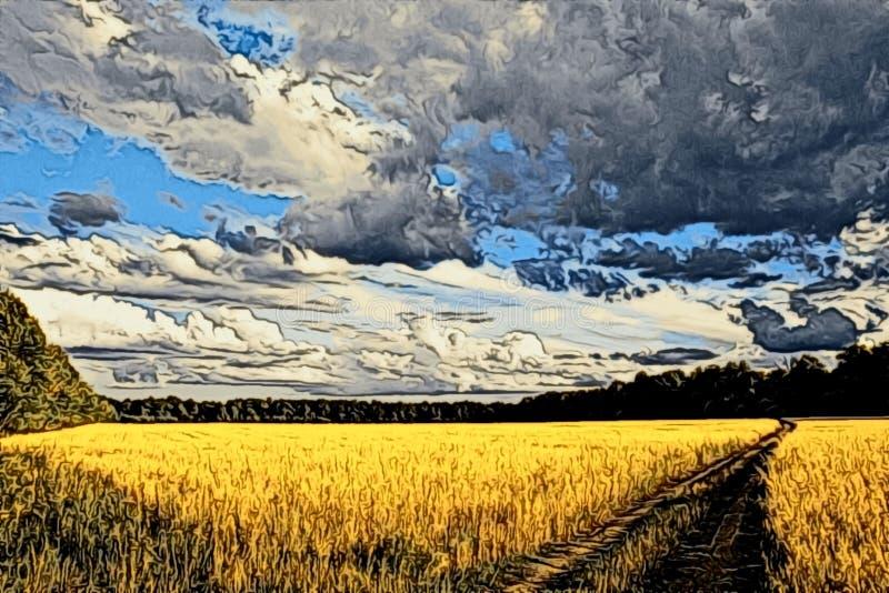 Illustration der Herbstlandschaft stockfoto