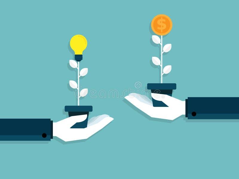 Illustration der Idee ist Geldhandaustausch-Birnenidee zu Geld t lizenzfreie abbildung