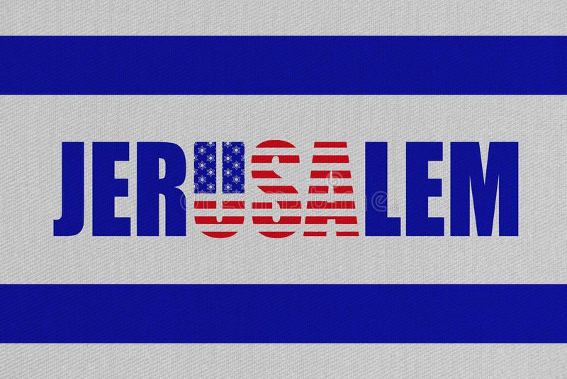 Illustration der Idee, US-Botschaft nach Jerusalem, neue Hauptstadt überzusiedeln von Israel stock abbildung