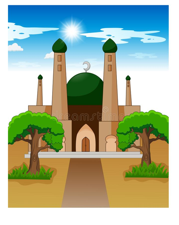 Illustration der islamischen Moschee am Tag lizenzfreie abbildung