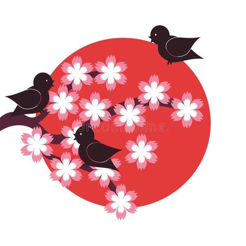 Illustration in der japanischen Art auf Weiß lizenzfreie abbildung
