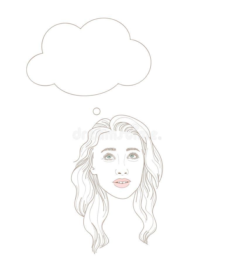 Illustration der jungen Frau oben träumerisch schauend mit denkenden BU lizenzfreie abbildung