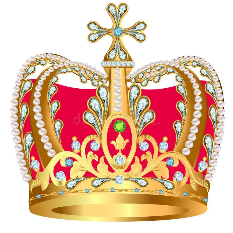 Von der königlichen Goldkrone mit Juwelen und Verzierung lizenzfreie abbildung