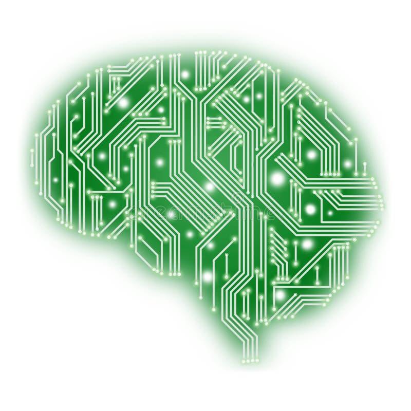 Illustration der Leiterplatte in der Form des menschlichen Gehirns - grünen Sie auf Weiß lizenzfreie stockbilder