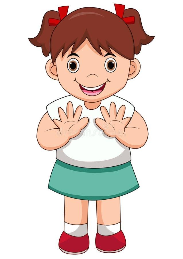 Illustration der lokalisierten wellenartig bewegenden Hand des netten Mädchens auf weißem Hintergrund lizenzfreie abbildung