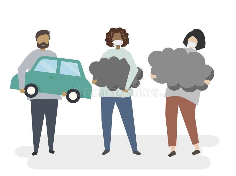 Illustration der Luftverschmutzung vom Auto stock abbildung