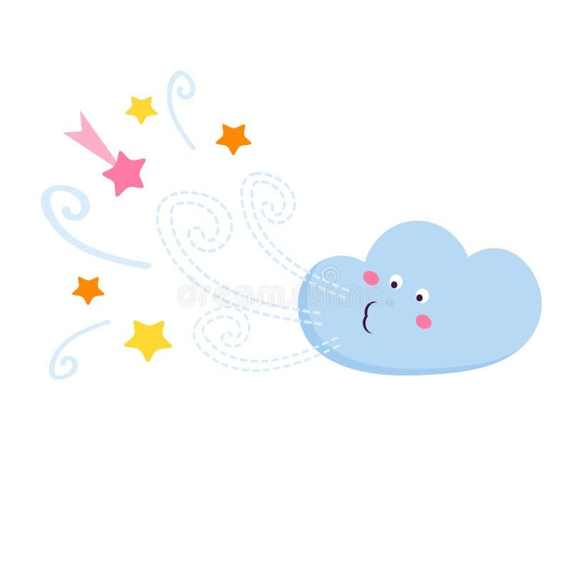 Illustration der lustigen Wolke lizenzfreie abbildung