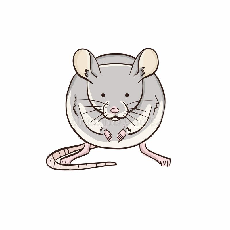 Illustration der Maus auf weißem Hintergrund Lokalisiertes Tier in der Farbe lizenzfreie abbildung