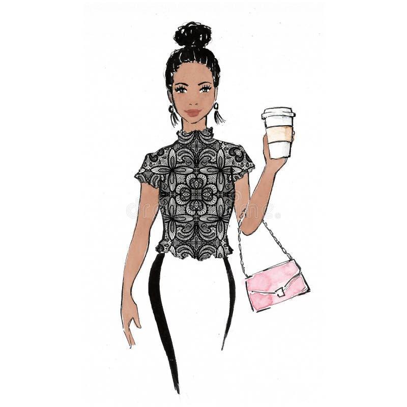 Illustration der modernen Frau/Grafik - Kaffee zum Mitnehmen/Spitzenoberteil/Handtasche - arbeiten Illustration/Schönheit um lizenzfreie abbildung