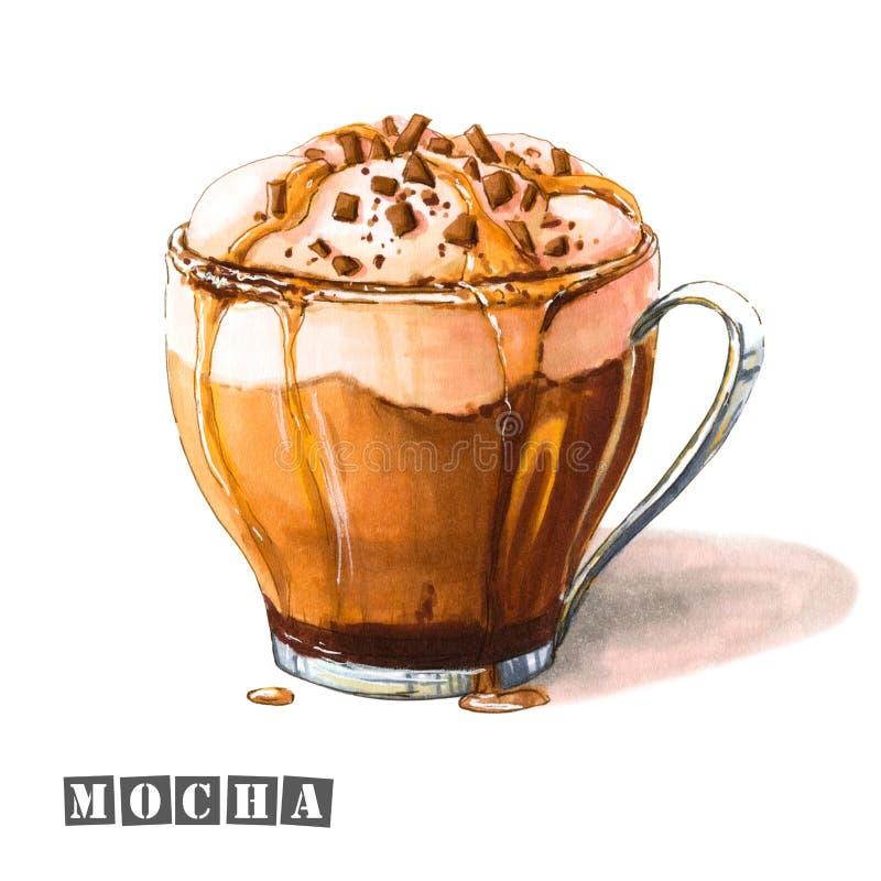 Illustration der Mokka mit der Schlagsahne, Schokolade und Karamelsirup, besprüht mit Schokoladensplittern in einer Glasschale lizenzfreie abbildung