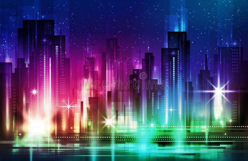 Illustration der Nachtszene der Stadt mit belichtetem Gebäude lizenzfreie abbildung