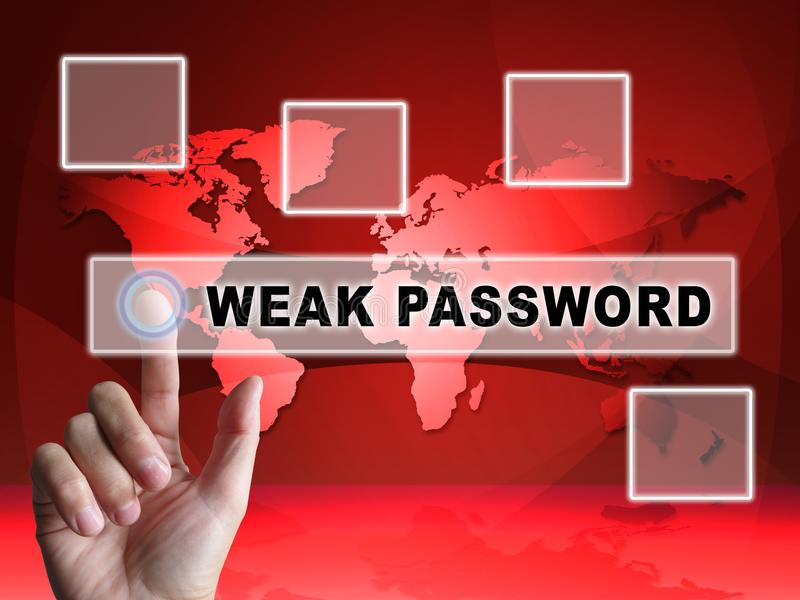 Illustration der Passwort-schwache Hacker-Eindringen-Drohungs-3d vektor abbildung