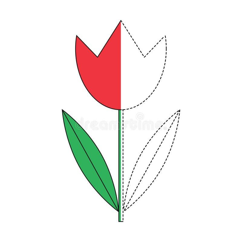 Illustration der roten Tulpe für Kleinkinder lizenzfreie abbildung