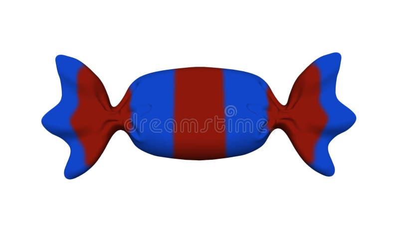 Illustration der Süßigkeit 3D in der roten und blauen Verpackung lokalisiert auf einem Weiß lizenzfreie abbildung
