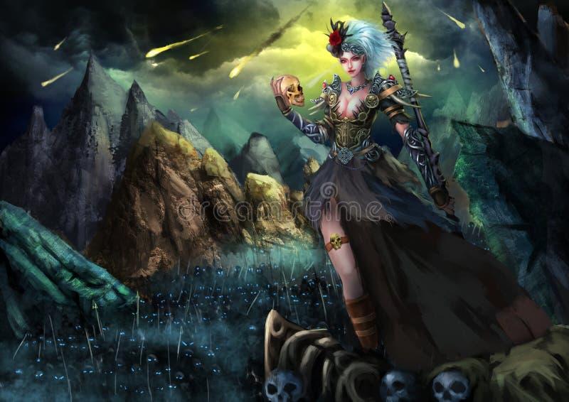 Illustration: Der schöne weibliche Geist Walker With Fatal Attraction und mit Horror-dunklen Skeleton Armeen vektor abbildung