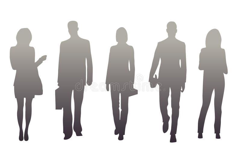 Illustration der Schattenbilder der Männer und der Frauen auf einem weißen Hintergrund vektor abbildung