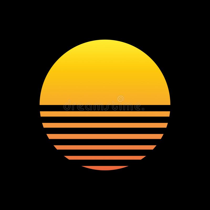 Illustration der Sonne 80s auf Schwarzem stock abbildung