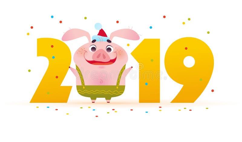 Illustration der Vektor-frohen Weihnachten mit dem netten lächelnden kleinen Schweincharakter in der Sankt-Hutstellung an den gro vektor abbildung