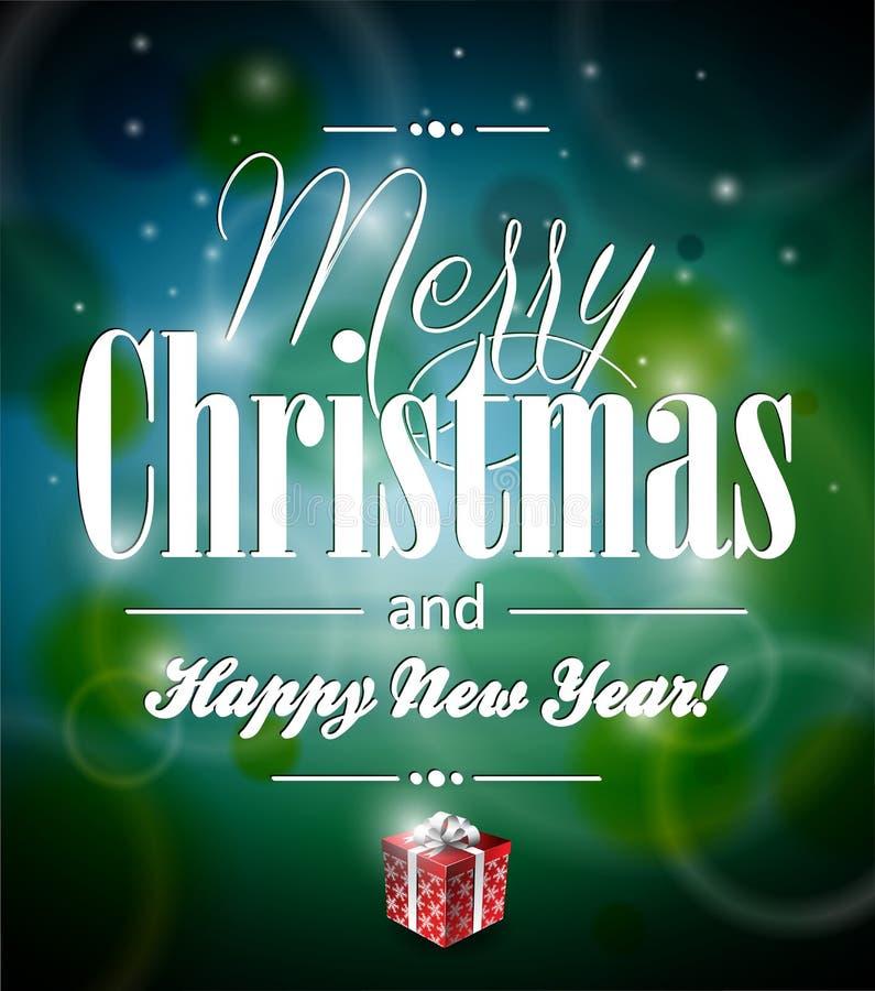 Illustration der Vektor-frohen Weihnachten mit typograph stock abbildung