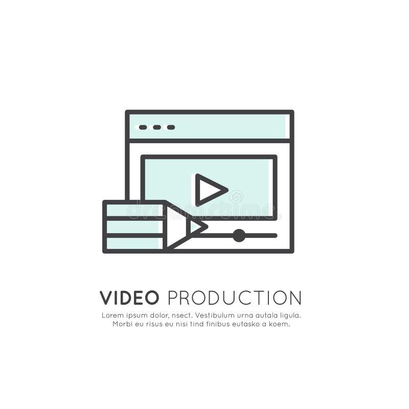 Illustration der Videoproduktion, machender Inhalt, Daten-Schaffung, Vlog-Aufgabe stock abbildung