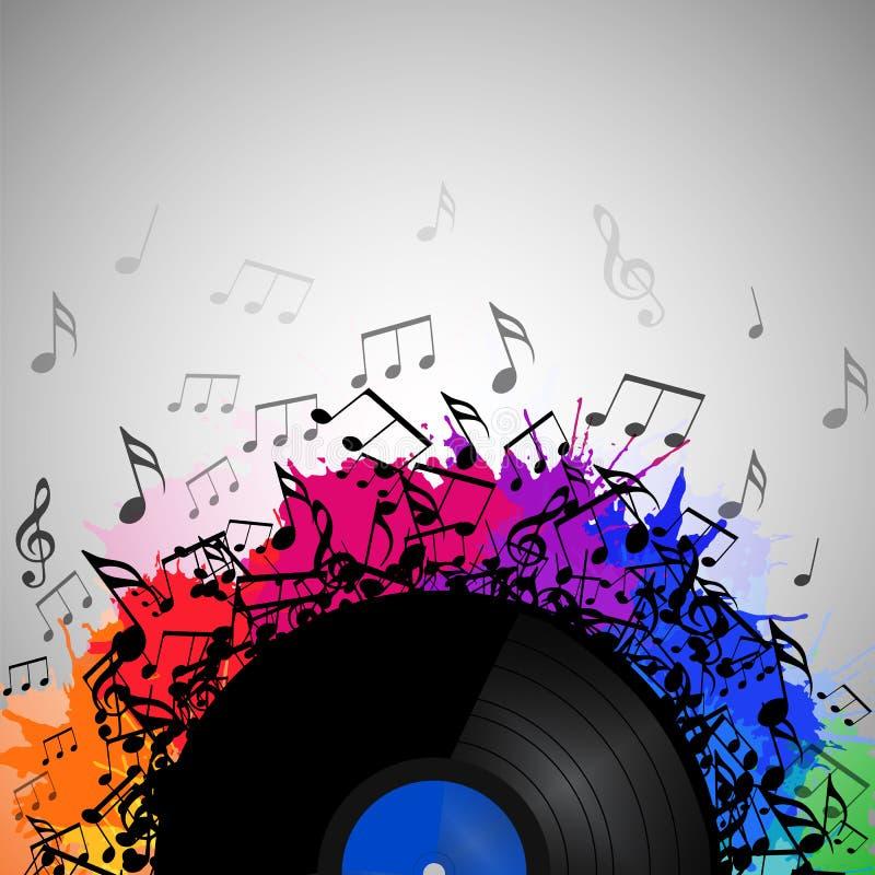 Illustration der Vinylaufzeichnung mit Musikanmerkungen vektor abbildung