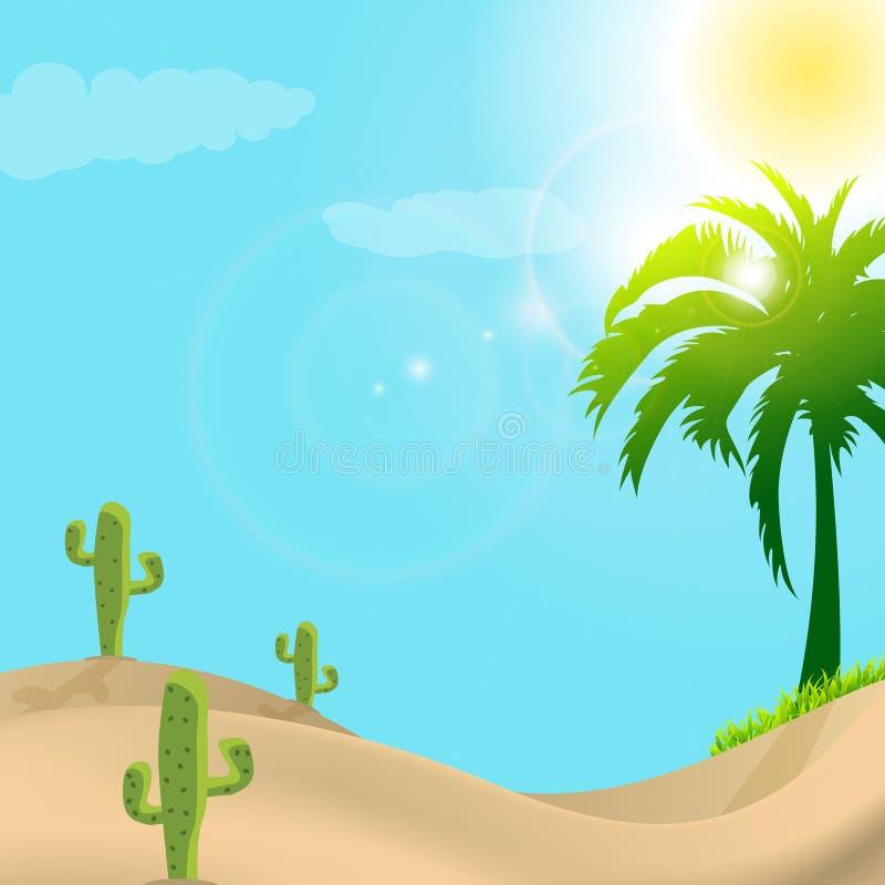Illustration der Wüstenszene im Tageslicht lizenzfreie abbildung