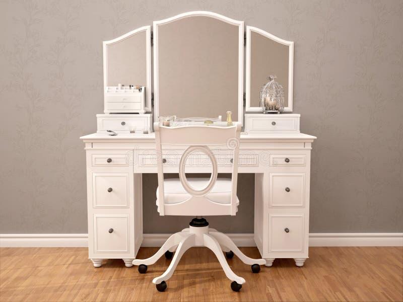 Illustration der weißen toilety Tabelle mit Spiegel vektor abbildung