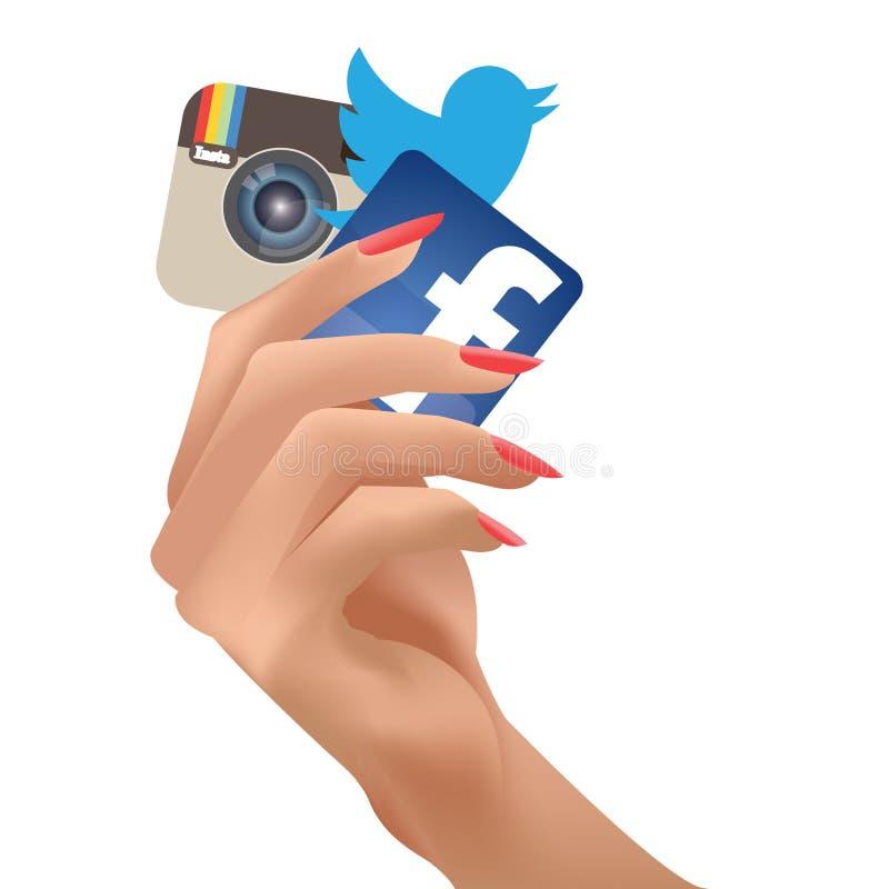 Illustration der weiblichen Hand Social Media-Ikonen halten stock abbildung
