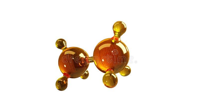 Illustration der Wiedergabe 3d des Glasmolekülmodells Molekül des Öls Konzept des Strukturmodellmotorenöls oder -gases lokalisier vektor abbildung