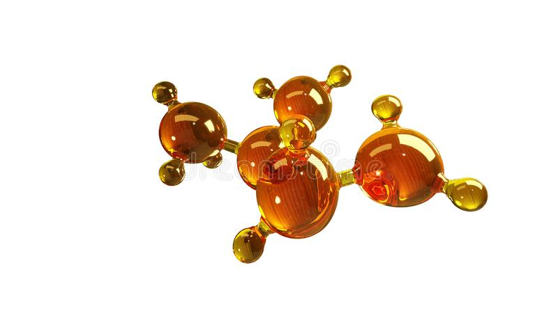 Illustration der Wiedergabe 3d des Glasmolekülmodells Molekül des Öls Konzept des Strukturmodellmotorenöls oder -gases lokalisier stockfotos