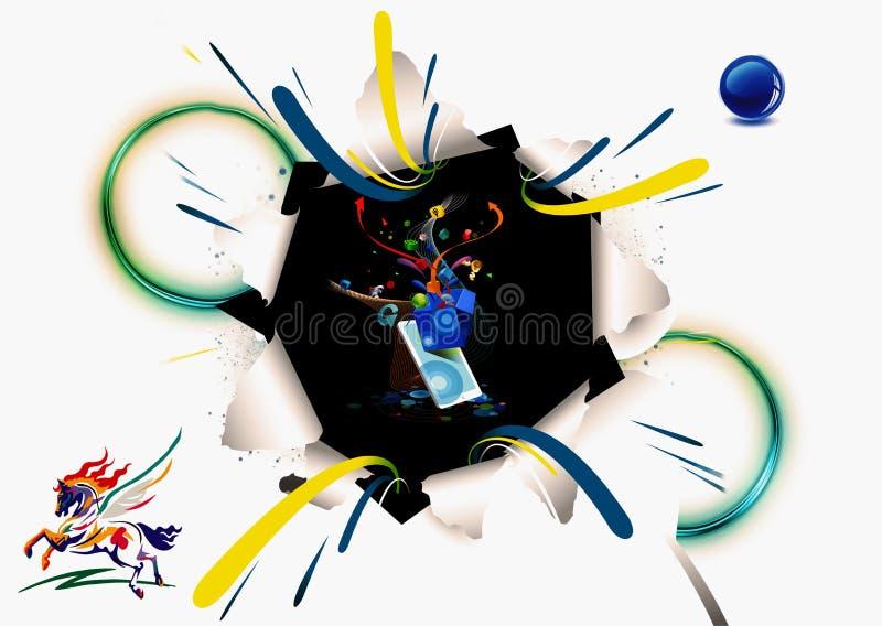 Illustration der Wiedergabe-3d, die von den futuristischen technologischen Formen schürzen aus einer zerbrochenen Weißbuch-Grafik lizenzfreie stockfotografie