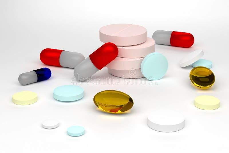 Illustration der Wiedergabe 3d von den bunten Pillen lokalisiert auf weißem Hintergrund lizenzfreies stockbild