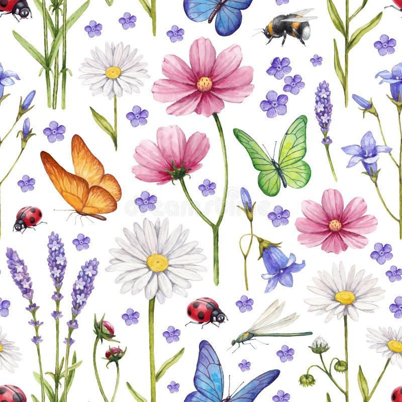 Illustration der wilden Blumen und der Insekten stockfotografie